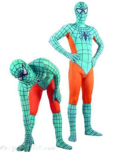 Lycra Spandex Cyan with Orange Spiderman Zentai Costume Zentai free shipping - wholesale Lycra Spandex Zentai Suits - wholesale Catsuits & Zentai - CosplayGate.Com | spiderman costume,spiderman costumes | Scoop.it