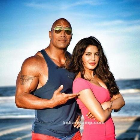 Priyanka Chopra with Dwayne Johnson at the sets of Baywatch, Actress, Bollywood, Hollywood, Indian Fashion | Indian Fashion Updates | Scoop.it