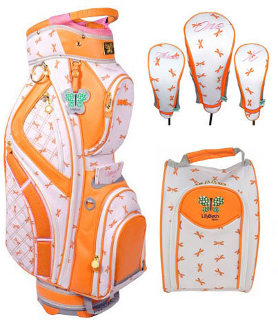 SPECIAL LilyBeth Ladies Designer Golf Bag Combos (Headcovers/Shoe Bag/Cart Bag) - Orange Dragonfly Lori's Golf Shoppe | Golf Bags | Scoop.it