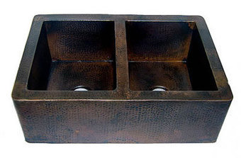 50/50 Copper Farmhouse Sink Equal Double Bowl 33 or 35 Inch, #CPKS2F_TDF505033229   Kitchen Online: Double Bowl Copper Kitchen Sinks  Copper Kitchen Sinks  Copper Kitchen Sink Texas   Scoop.it