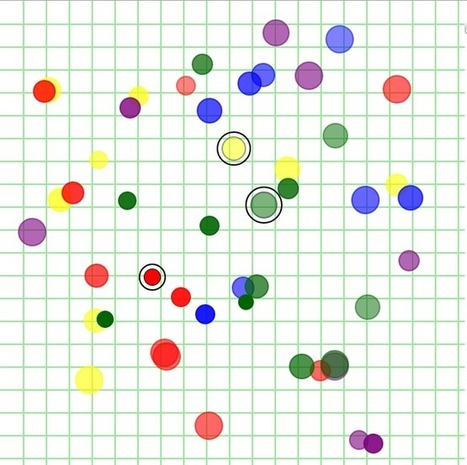 """Less than 300 lines of JavaScript creates an interesting """"Game of Life"""" example (random moving graphic creatures with lifespans - see animated gif).   javascript node.js   Scoop.it"""