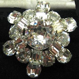"Rhinestone Brooch Signed Kramer Designer Pin Silver Metal Layered Domed Vintage 1 3/4"" VG | vintage jewelry | Scoop.it"