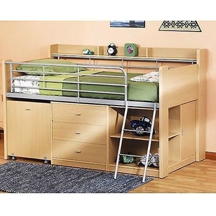 Charleston Storage Loft Bed w/ Desk Natural Lots of Storage Space SHIPS FREE | Loft Bed with Slide | Scoop.it