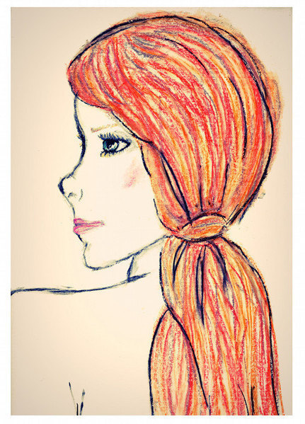 Red Haired Girl Art Print from an Oil Pastel Artwork by Sian Whitehall | Artist and Crafter Showcase | Scoop.it
