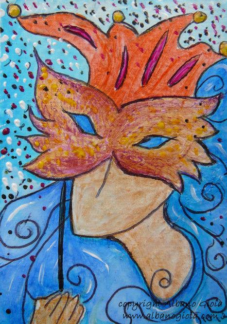 "Woman Feminine ACEO ""Carnival""  Mixed media Original artwork by Gioia Albano | Art | Scoop.it"