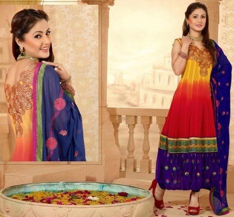 Shaded Tripal Color Churidar Kameez Set [Man15196] - Rs.3232 : Salwar Kameez,Designer Salwar Kameez, Designer Sarees, Designer Sarees, Wedding Lehengas, Indian Sarees Online store   Salwar Kameez   Scoop.it