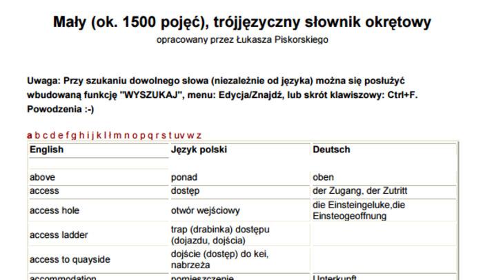 (PL) (DE) (EN) (PDF) - Mały trójjęzyczny słownik okrętowy | Łukasza Piskorskiego | Glossarissimo! | Scoop.it