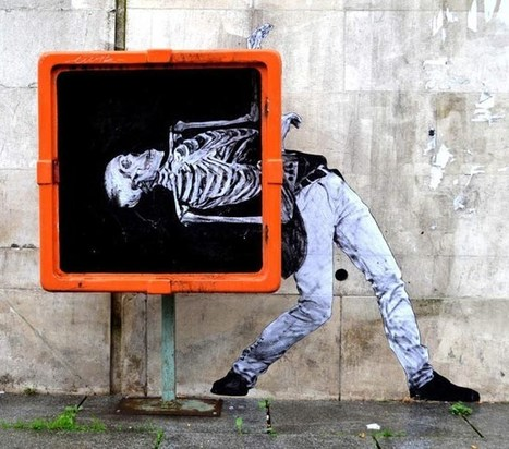 Danse Macabre, An X-Ray Street Art Installation of a Dancing Figure | ESL- EFL and Art | Scoop.it