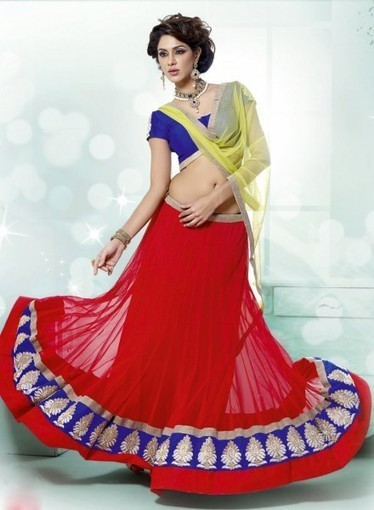 Buy online at best price, Red Wedding Lehnga Choli with Patch Work, Resham   Bridal Lehengas   Scoop.it