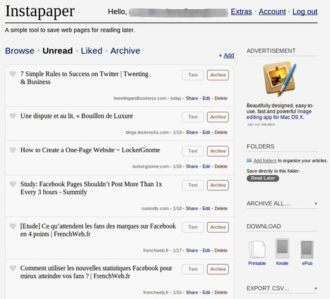 Instapaper | Best Webtools to live in the Cloud | Scoop.it