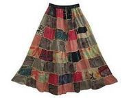 BOHO GYPSY LONG SKIRTS BROWN RAYON PATCHWORK SUMMER SKIRT 36"