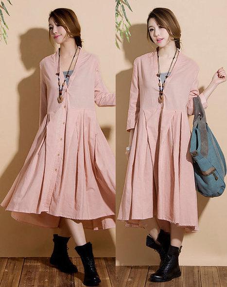 New personalized linen pink cardigan shirt / sleeve big swing around Irregular Dress | Ladies Fashion | Scoop.it