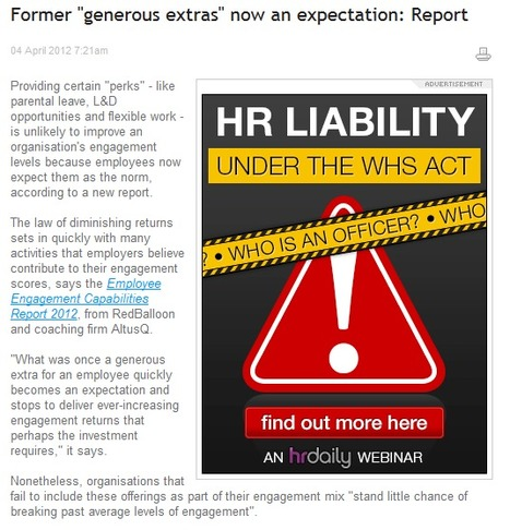 """Former """"Generous Extras"""" Now An Expectation: Report - HR Daily 