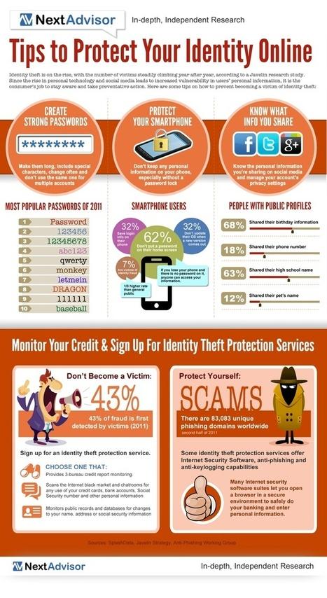 Consejos para proteger tu identidad online #infografia #infographic #internet | Seo, Social Media Marketing | Scoop.it