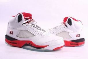 Jordan Basketball Shoes Retro 5:White/Red Men Size | my style | Scoop.it