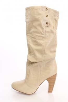 Beige Cuffed Heel Boots Faux Leather   The Season's Hottest Styles from Pink Basis   Scoop.it