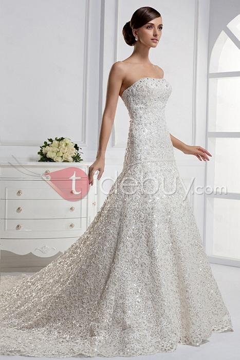 Stunning Mermaid Strapless Floor-length Chapel Train Wedding Dress | lovely girl | Scoop.it