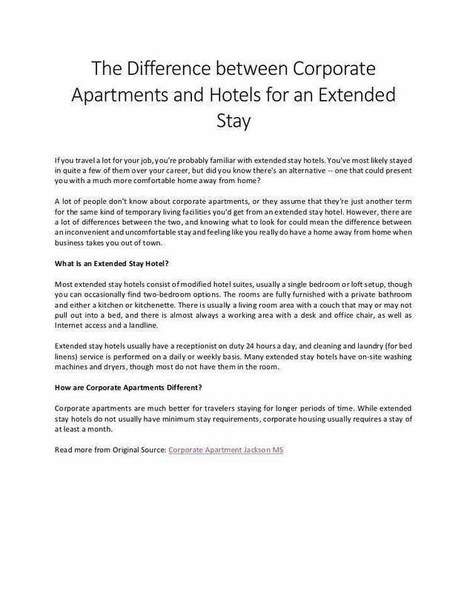 Learn Differences Between Corporate Apartments & Extended Stay Hotels | Corporate Housing Experts | Scoop.it
