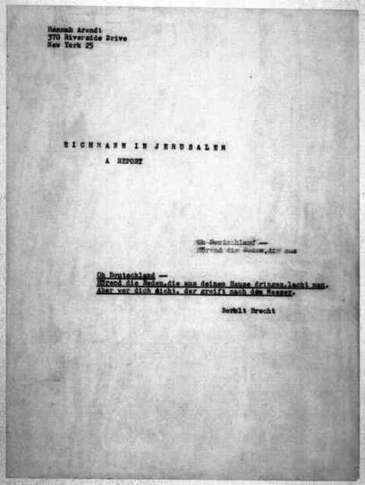 La banalité du mal, et des archives en ligne de Hannah Arendt | h.arendt | Scoop.it