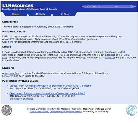 L1Resources - Database for Full-Length, Intact L1 Elements | bioinformatics-databases | Scoop.it