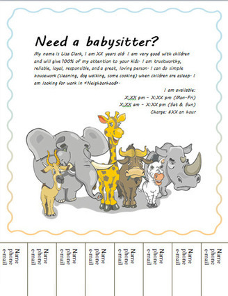 Free Babysitting flyers: templates and ideas | baby sitting flyers | Scoop.it