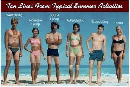 Tan lines from typical summer activities | Wit for and by Translators | Scoop.it