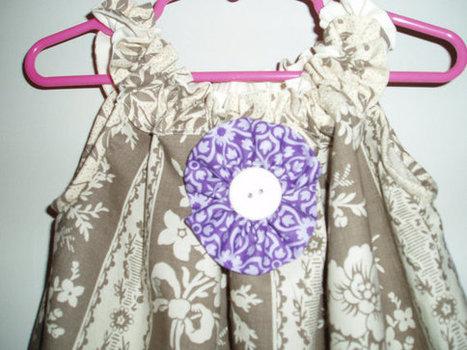 Beautiful Handmade Girls Sundress in Gray, Off-white and Purple Flower Print ,contrasting hem, flower SIZE 4 | Cool Stuff | Scoop.it