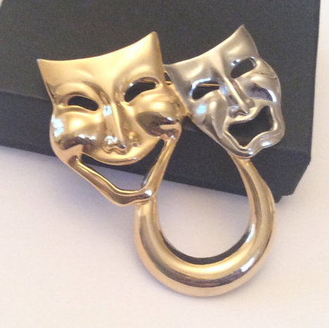 Comedy Tragedy Mask Brooch Theatre Brooch Vintage Jewelry | Vintage Jewelry and Fashions | Scoop.it