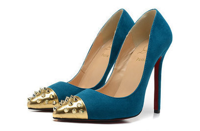 Geo Pumps Louboutins 120 Red Sole Blue Suede Gold Spiked Toe [geo-pump-007] - $133.00 : Hello Kitty Bags For Ladies, Anteprima Bags Style Stereo Hello Kitty bags , my melody bags ,rhinestone bags | christian louboutin pumps fashion | Scoop.it