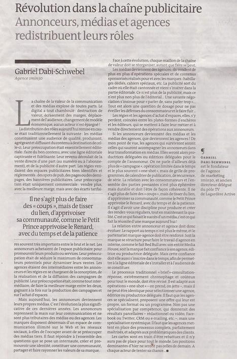 Révolution dans la chaîne publicitaire, un article publié dans le Monde   Communication 2.0 et content marketing   Scoop.it