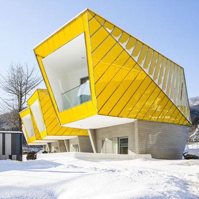 Asymmetric holiday homes by Studio Koossino feature bright yellow walls | web news | Scoop.it