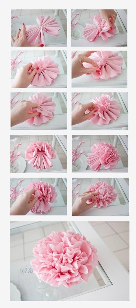 Diy des pivoines en papier l 39 atelier douceu - Fleur en papier crepon pliage ...