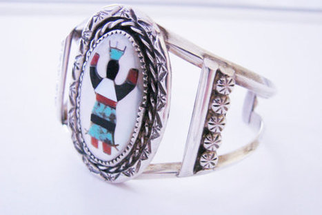 Native American Old Pawn Sterling Roland Hogan Begay RHB Cuff Bracelet / Inlaid Navajo Kachina Dancer / Artisan / Vintage Jewelry | Vintage and Antique Jewelry & Fashion | Scoop.it