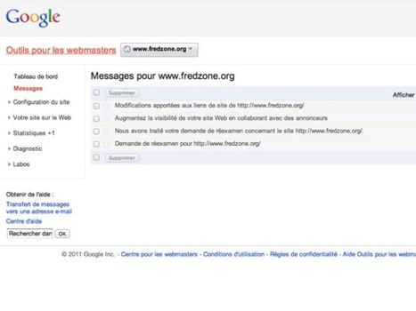 Les alertes arrivent dans Webmaster Tools - Fredzone (Blog)   Référencement internet   Scoop.it