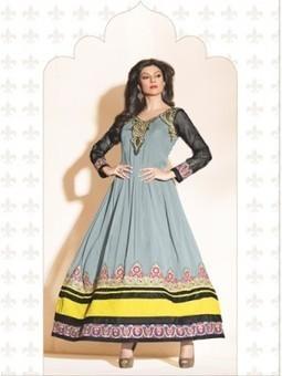Buy Online Sushmita Sen Grey Georgette Designer Anarkali Suit 9640 - Sushmita Sen Collection Sushmita Sen Dress | Online Suit Salwar Kameez |  Suit Price| Suit Sale | Apparel | Women Suit | Scoop.it