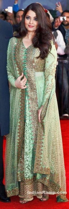 Aishwarya Rai in Sabyasachi's Green heavy work Long Frock Anarkali at Times Of India Film Awards, Actress, Bollywood, Kollywood | Indian Fashion Updates | Scoop.it