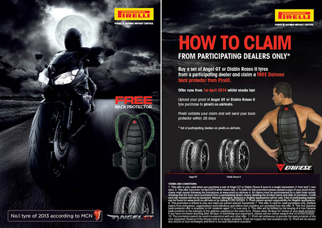 Pirelli Partners With Dainese To Offer Customers A Free Back Protector | Motorcycle Industry News | Scoop.it