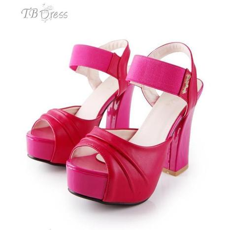 Lovely Peach Red Chunky Heels Peep Toe Sandals   FASHION-BEAUTY-CLOTHES-GIRL   Scoop.it