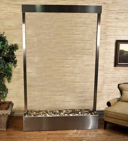 Exalted Fountains   Grandeur River with Stainless Steel and Clear Glass   Indoor Fountains In All Sizes   Scoop.it