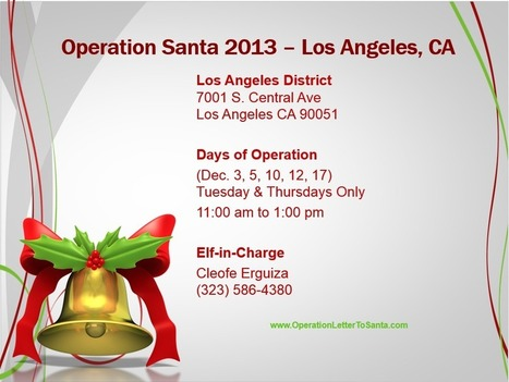 Operation Santa Participating USPS Office List 2013 – Los Angeles, CA | Operation Santa Claus - Santa's Blog | Christmas and Winter Holidays | Scoop.it