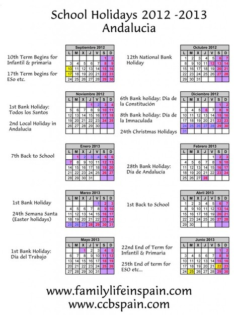 School Holidays Calendar 2012 -2013: Spain, Andalucia, Málaga | Legal, General, Relocation, Information and Family Advice Spain | Family Life In Spain | Scoop.it