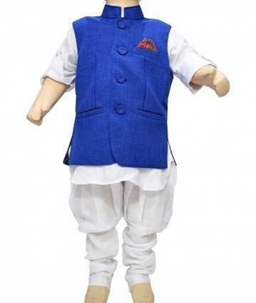 Fashionable Designer Kids White Cotton Traditional Kurta Pajama with Blue Jacket | Online Baby Accessories | Scoop.it