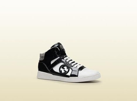 Gucci Mens Shoes Black & White Leather Sneakers | Designer Mens Shoes | Scoop.it