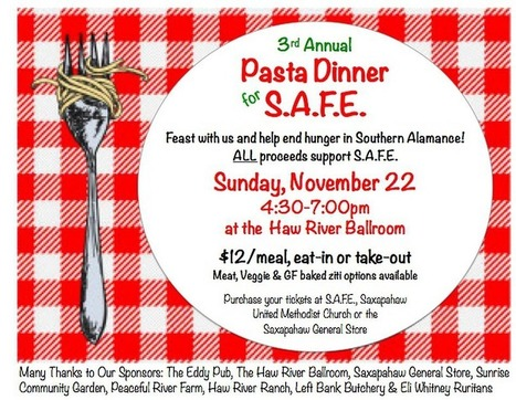 3rd Annual Pasta Dinner for S.A.F.E. | Saxapahaw | Scoop.it