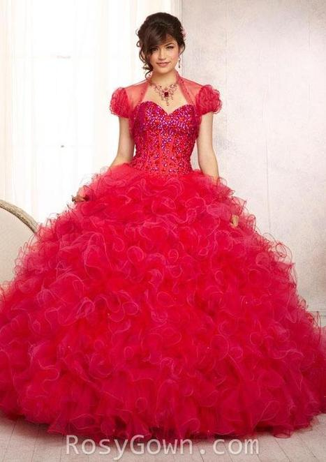 Red Beaded Ruffled Tulle Ball Gown Quinceanera Dress | Cheap Prom Dresses | Scoop.it