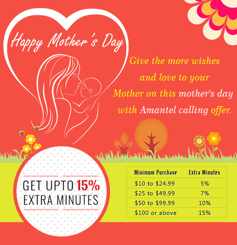 Amantel mother's day offer - Get upto 15% extra minutes | Cheap International Calling | Scoop.it