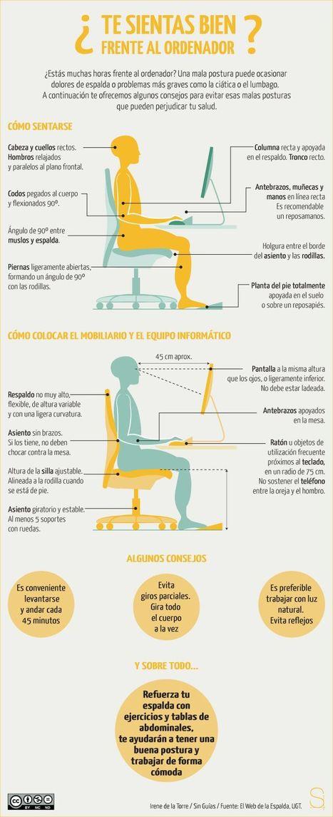 Cuida tu salud con una buena postura frente al ordenador (#infografia) | Salud para tod@s | Scoop.it