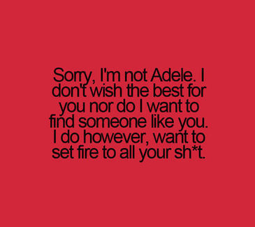 Sorry, I'm not Adele. I don't wish the best for you nor do I want to find someone like you. I do however, want to set fire to all your sh*t. | papmalik | Scoop.it