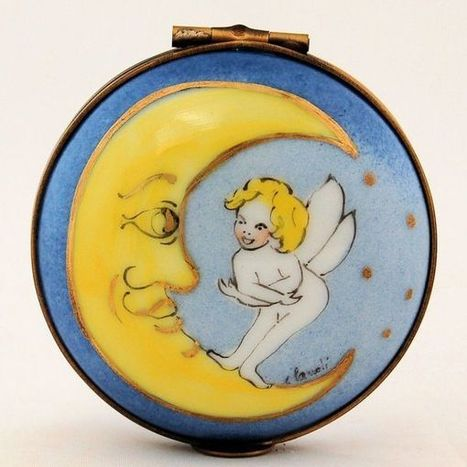 Hand Painted Limoges Porcelain Box Hinged First Hair Cut Tooth Fairy Moon - The Vintage Village | Antiques & Vintage Collectibles | Scoop.it