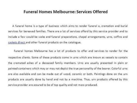Funeral Homes Melbourne Services Offered Ppt Presentation | For Loved Ones | Scoop.it